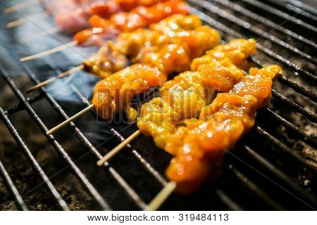 Chicken Satay On Barbecue Grill Cooked .