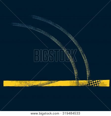 Dark Grunge Road Background With Yellow Tire Tracks And Car Silhouette