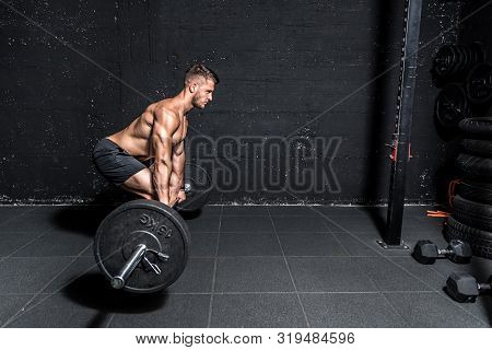 Barbell Weight Training, Young Muscular Sweaty Man With Big Muscles Doing Barbell Weight Training Wo
