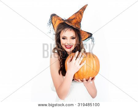 Halloween Beauty Witch Girl Portrait - Isolated On White Background. Preparation Halloween Holiday.