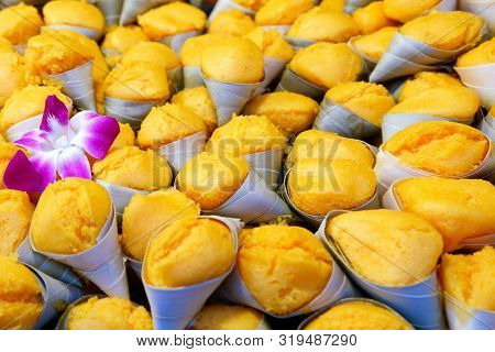 Toddy Palm Cake Or Khanom Tan - Popular Thai Dessert Made From Banana, Coconut Milk, Rice Flour And