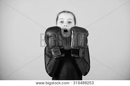 Contrary To Stereotype. With Great Power Comes Great Responsibility. Boxer Child In Boxing Gloves. F