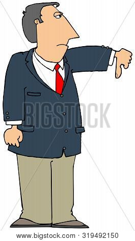 Illustration Of A Man Wearing A Sport Coat Giving The Thumbs Down Gesture In Disapproval.