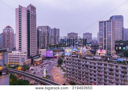 Chongqing, China - May 10, 2019 : City View Of Chongqing High Rise Buildings, Modern Residential, Sh