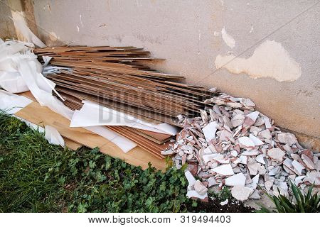 Construction Waste. A Pile Of Construction Waste. Building Rubble And Stones. Abandoned Garbage, Jun