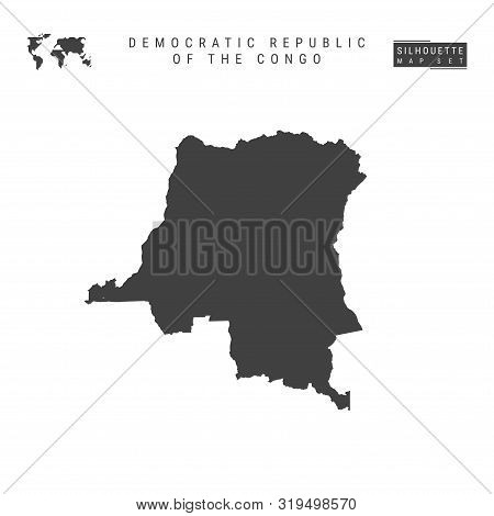 Democratic Republic Of The Congo Blank Vector Map Isolated On White Background. High-detailed Black