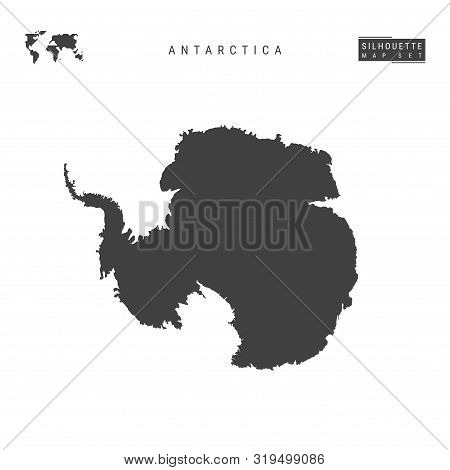 Antarctica Blank Vector Map Isolated On White Background. High-detailed Black Silhouette Map Of Anta
