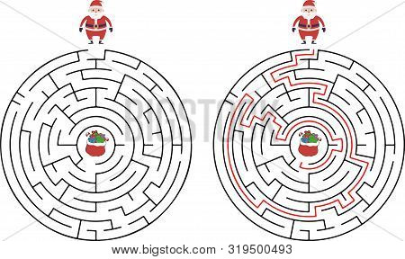 Winter Maze Labyrinth Game With Answer. Help Santa Find The Way Out Of The Labyrinth. Colorful Flat