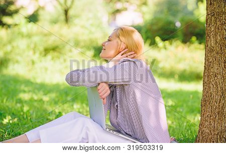 Woman Dreamy With Laptop Work Outdoors. Minute For Dream. Dream About New Job Or Relocation. Girl La