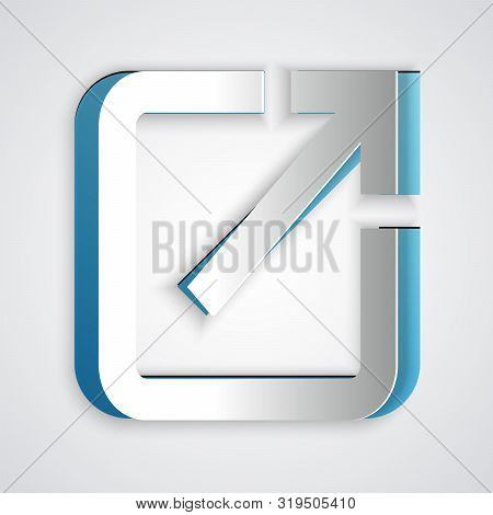 Paper Cut Open In New Window Icon Isolated On Grey Background. Open Another Tab Button Sign. Browser