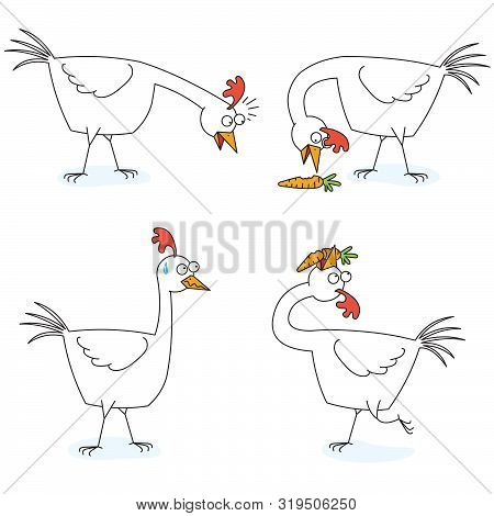 Illustration Of A Chicken Eats A Carrot