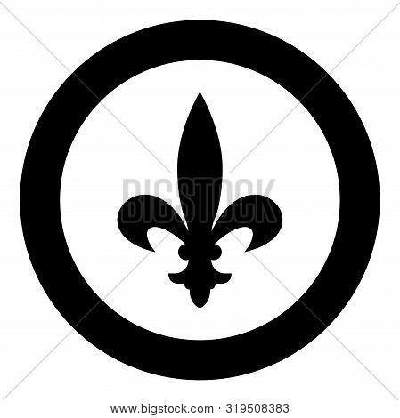 Heraldic Symbol Heraldry Liliya Symbol Fleur-de-lis Royal French Heraldry Style Icon In Circle Round
