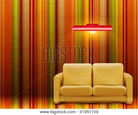 Retro Zimmer mit Sofa und eine Lampe