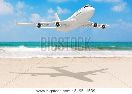 White Jet Passenger's Airplane Over Ocean Deserted Coast. 3D Rendering