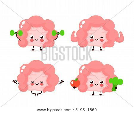 Strong Cute Healthy Happy Human Intestine Organ Character Set. Vector Flat Cartoon Illustration Icon