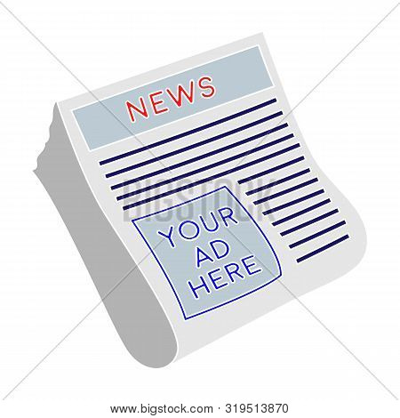 Classified Ads In Newspaper Icon In Colour Style Isolated On White Background. Advertising Symbol St