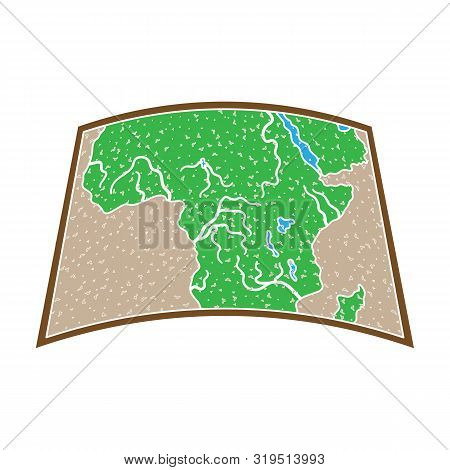 Map Of Mainland Africa.african Safari Single Icon In Colour Style Vector Symbol Stock Illustration W