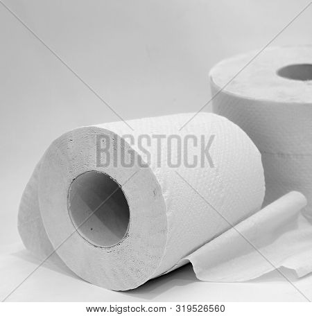 Toilet Paper Roll On Table With White Background No People Stock Image Stock Photo