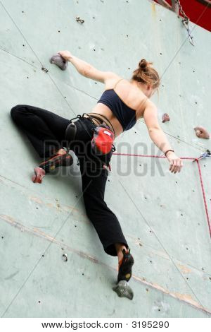 The Climber Trains On An Artificial Rock