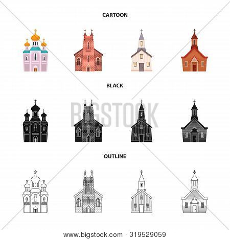 Isolated Object Of Cult And Temple Sign. Collection Of Cult And Parish Stock Vector Illustration.