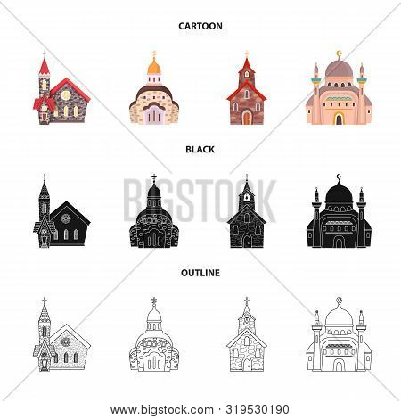 Isolated Object Of Cult And Temple Icon. Collection Of Cult And Parish Stock Vector Illustration.