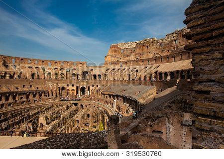 Rome, Italy - April, 2018: View Of The Interior Of The Roman Colosseum Showing The Arena And The Hyp