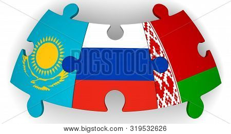 Cooperation Between Russia, Belarus And Kazakhstan. Puzzles With Flags Of Of Russia, Belarus And Kaz
