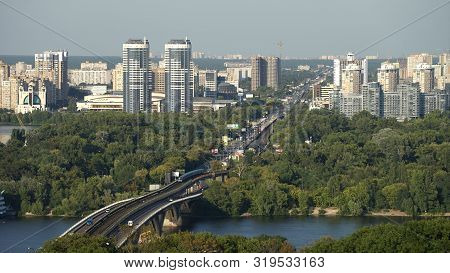 Kiev, Ukraine 21 May 2019 Metro Bridge Above Dnipro River In Kiev, The Capital Of Ukraine