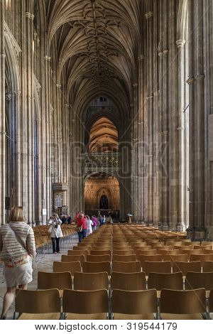 Canterbury, Great Britain - May 15, 2014: This Is The Main Nave With Rows Of Chairs For Parishioners
