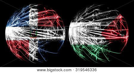 Abstract Dominican Republic, Dominican, Jordan, Jordanian Sparkling Flags, Sport Ball Game Concept I
