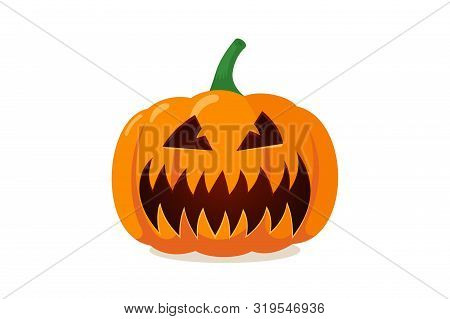 Scary Spooky Pumpkin Jack-o-lantern With Creepy Toothy Smile. Traditional Decoration Symbol Of Hallo