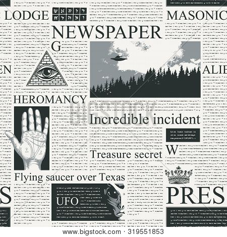 Vector Seamless Pattern With Newspaper Columns. Repeatable Newspaper Background With Black Unreadabl