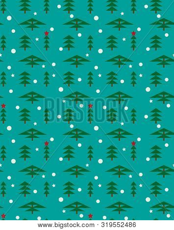Winter Forest Landscape For New Year And Christmas. Spruce, Pine, Sequoia, Cypress In Winter, Fallin