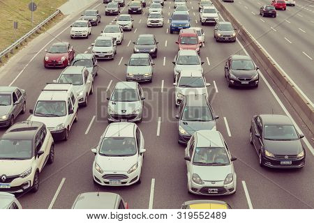 Buenos Aires - Aug. 29, 2019. Traffic Jams In Buenos Aires On Aug. 29, 2019. There Are A Millions Ca