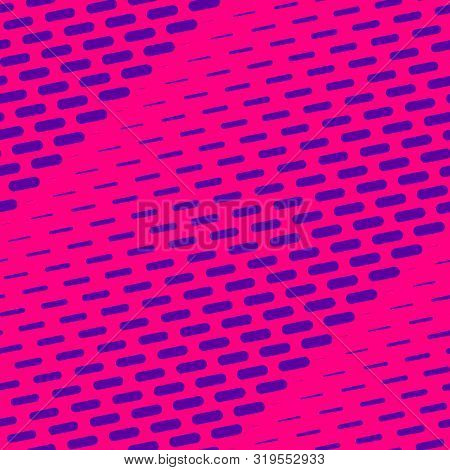 Vector Geometric Halftone Seamless Pattern With Dash Lines, Fading Stripes. Diagonal Gradient Transi
