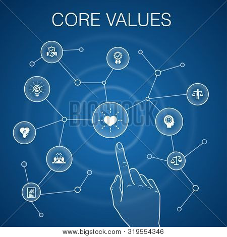 Core Values Concept, Blue Background.trust, Honesty, Ethics, Integrity Simple Icons