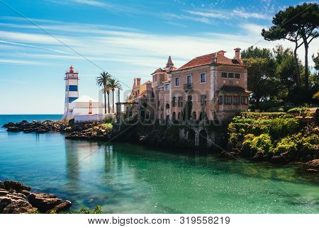 View Of Santa Marta Lighthouse And Municipal Museum Of Cascais, Portugal
