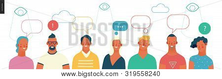 Bright People Portraits - Young Men And Women - Row Of Talking People With Bubbles Above And Watchin