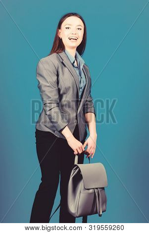 Student Life. Smart Beauty. Nerd. Business. Shool Girl With Knapsack. Stylish Woman In Jacket With L