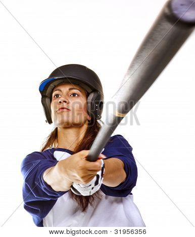 Woman Baseball or Softball Player batting