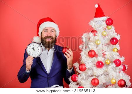 Keep Track Of Time. Time To Celebrate. Businessman Join Christmas Celebration. Man Bearded Wear Suit