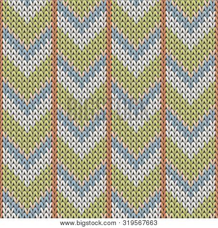 Fashionable Downward Arrow Lines Knit Texture Geometric Seamless Pattern. Rug Knitwear Fabric Print.