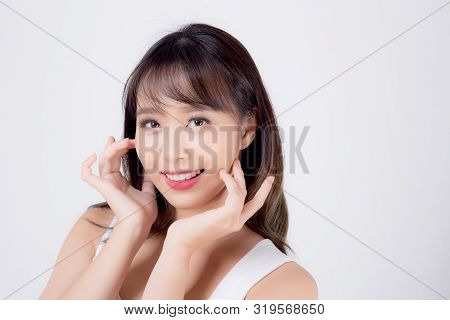 Beautiful Woman Asian Makeup Of Cosmetic, Beauty Asia Girl Hand Touch Cheek And Smile Attractive, Fa