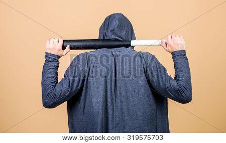 Aggression Masculinity Strong Temper. Bully Mood. Bad Boy Concept. Man Bully Guy With Baseball Bat.