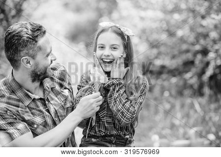 Outgrow allergies. Happy family vacation. Father and little girl enjoy summertime. Dad and daughter collecting dandelion flowers. Keep allergies from ruining your life. Seasonal allergies concept poster
