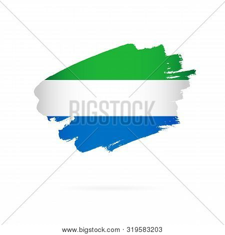 Flag Of Sierra Leone. Vector Illustration On A White Background. Brush Strokes Are Drawn By Hand.