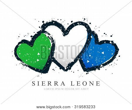 Sierra Leone Flag In The Form Of Three Hearts. Vector Illustration On A White Background. Brush Stro