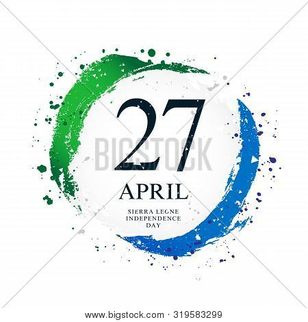 Sierra Leone Flag In The Shape Of A Circle. April 27 - Independence Day. Vector Illustration On A Wh
