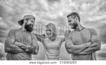 Trust and support attributes of true team. United by idea. Woman and men look confident while stay close each other like team. Shoulder on which you can rely. Feel comfortable with friends teammates poster