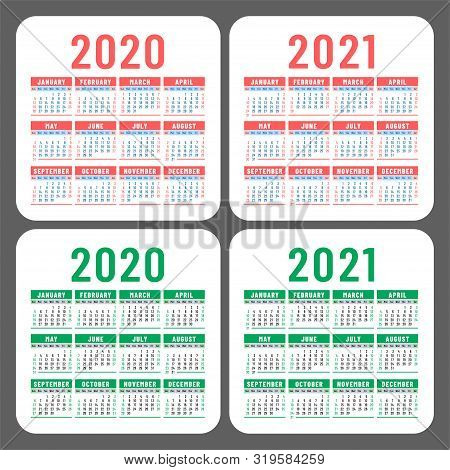 Calendar Set 2020 And 2021. Square Vector Calender Design Template. English Color Collection. Week S